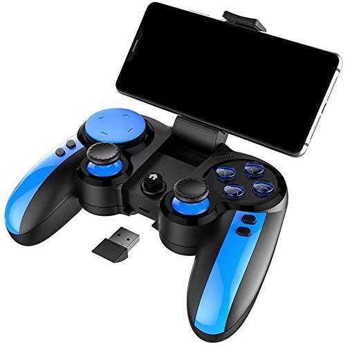 Manette jeu sans fil avec manette jeu vibrations 2,4 G, combiné chargement pour manette jeu, cubes jeu pour téléphones, commutateur manette Ps4, manette jeu, compatibilité pour Android / Ios, bleu