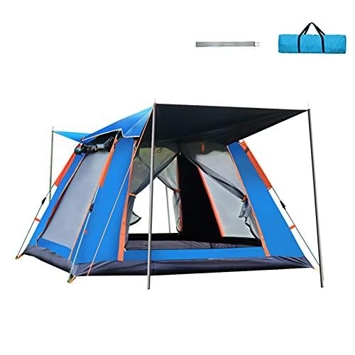 Tenda da Campeggio 3-4 Persone Tenda da Campeggio da Spiaggia ad Apertura Rapida Completamente Automatica Tenda da Campeggio Multipla Antipioggia a Quattro Lati,Sky Blue,Painted Silver