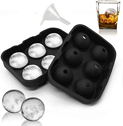 ZIZLY Ice Ball Maker Reusable Ice Ball Mold Easy Release Round Silicone Ice Sphere Tray with Lids & Funnel for Whiskey, Cocktails, Bourbon