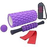 Kit de Rouleau Massage Fitness 5 en 1 Portatif, Foam Roller, 1 Barre de Rouleau, Balles de Massage, Resistance Bands, pour Massage Pilates Yoga Exercise Fitness Gym, Récupération Sportive et Bien-êtr