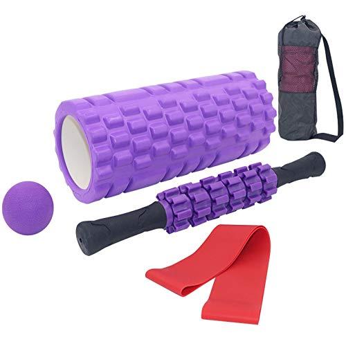 Soulpala Rullo Massaggio Muscolare Set 4 Kit Fitness, Rulli in Schiuma, Roller Stick, Massaggio Ball, Bande di Resistenza, per Yoga Myofascial Release Massaggio Muscolare Foam Roller Kit