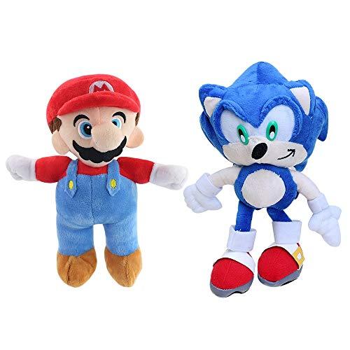 MIAOGOU Sonic Plüsch 2 Stück / Los Super Sonic und Super Mario Plüschtier Sonic Shadow Knuckles Tails Weiche gefüllte Babypuppen Kinder