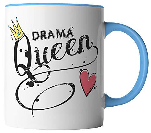 vanVerden Tasse - Drama Queen Krone mit Herz - lustiger Spruch - beidseitig Bedruckt - Geschenk Idee Kaffeetassen, Tassenfarbe:Weiß/Blau
