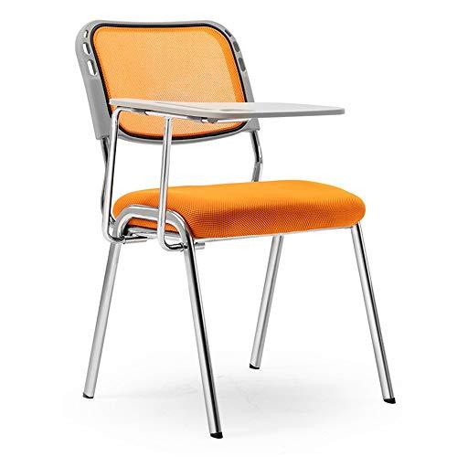 LiChaoWen Sillas Plegables Reunión Silla Plegable de formación con el Tablero de Escritura Oficina for Silla (Color : Orange, Size : 50 x 50 x 80cm)
