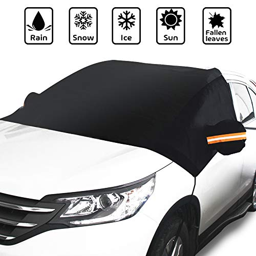 GLOUE Car Windshield Snow Cover with Side Mirror Covers, Fits for Most Vehicles, Cars Trucks Vans and SUVs, Mirror Snow Covers Protects Windshield and Wipers from Weatherproof, Rain, Sun, Frost