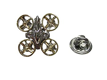 Gold and Silver Toned Quadcopter Drone Lapel Pin