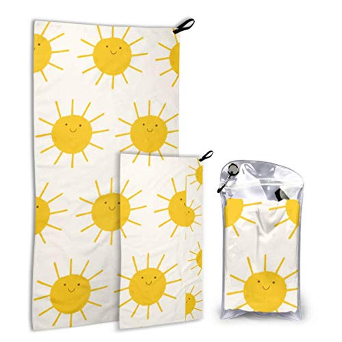 N\A Sun Sunny Sunlight Active 2 Pack Microfiber Soft Towel Printed Set Set Drying Drying Best for Gym Travel Backpacking Yoga Fitnes