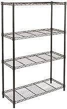 Amazon Basics 4-Shelf Adjustable, Heavy Duty Storage Shelving Unit (350 lbs loading capacity per shelf), Steel Organizer Wire Rack, Black (36L x 14W x 54H)