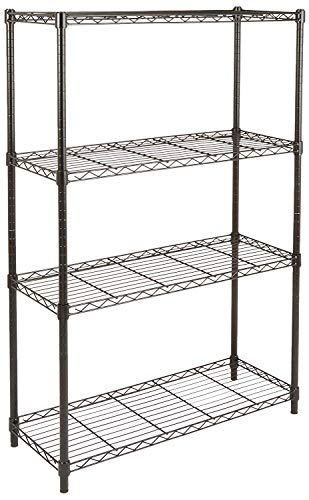 AmazonBasics 4-Shelf Adjustable, Storage Shelving Unit, Steel Organizer Wire Rack, Black