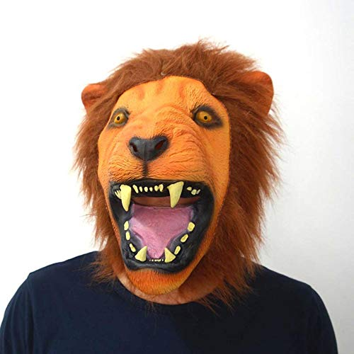 SAILORMJY Halloween Maschere, novità Deluxe Festa in Costume di Halloween Maschera di Testa di Animale in Lattice Maschera di Natale Carnivalparty Mardi Gras Costume Ball Maschera Testa di Leone