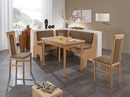 Massivmöbel-Trends Eckbankgrupppe Mailand Buche Natur Decor mit Vierfusstisch und 2 Stühle