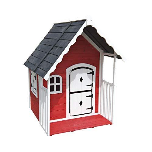 Outdoor Toys. Casita Infantil Anny C/Barandilla, Color Marron/Rojo, 120 X 130 X 140 Cm