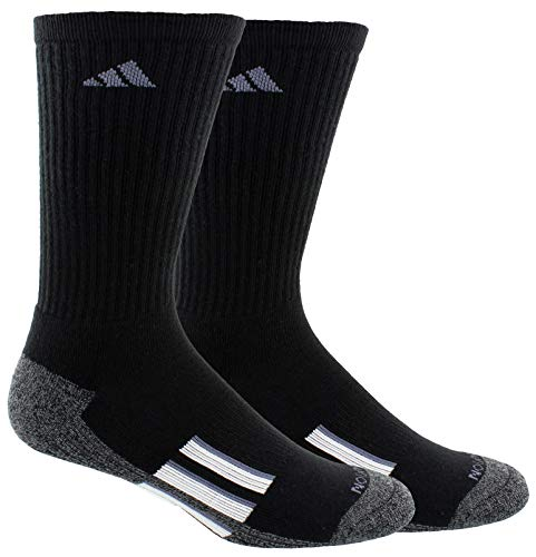 adidas Men's Climalite X II Crew Socks (2-Pack), Black/Black/Onix Marl/White/Onix, Size 6-12