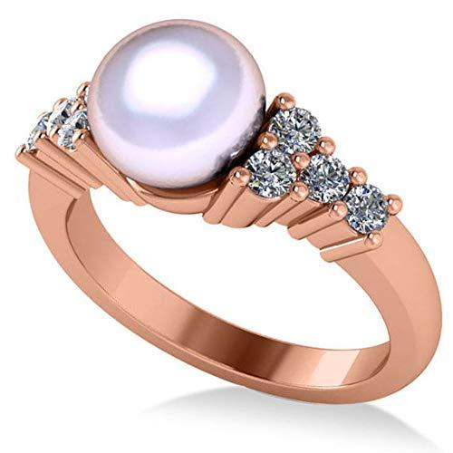 Anillo de compromiso con perlas y diamantes acentuado 14k Oro rosa 8mm (0.40ct), Anillo de compromiso con pedrería Por siempre uno, Anillo de bodas, Promesa Oro Anillo