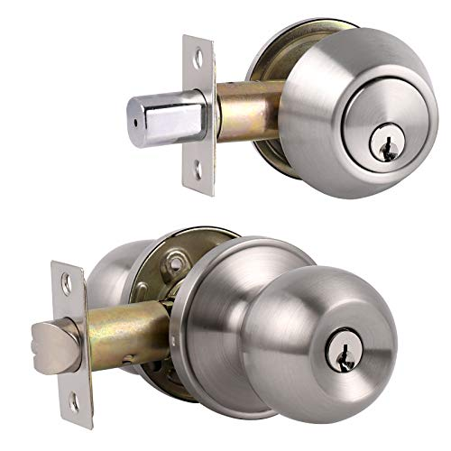 All Keyed Same Entry Door Knobs with Single Cylinder Deadbolt for Exterior Front Doors, Satin Nickel Finish, Come with Same Keys, Contractor Pack of 3