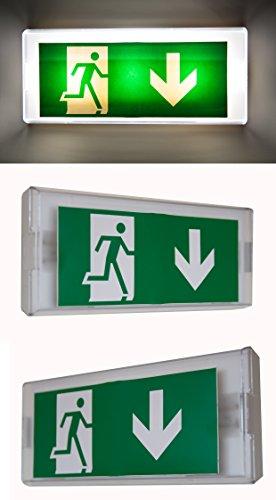 Dauerlicht Notleuchte Notbeleuchtung Exit Notausgang Fluchtwegleuchte Notlicht Fluchtweg EXIT IL (Pfeil nach Unten)