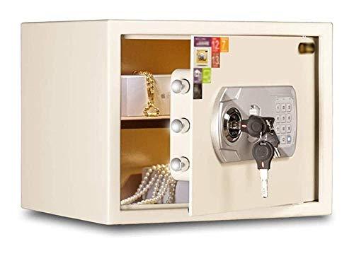 Caja de seguridad, caja fuerte electrónica para el hogar de 30 cm con código y llaves de anulación de emergencia Alarma incorporada, caja fuerte para montaje en pared o piso, caja fuerte para joyería