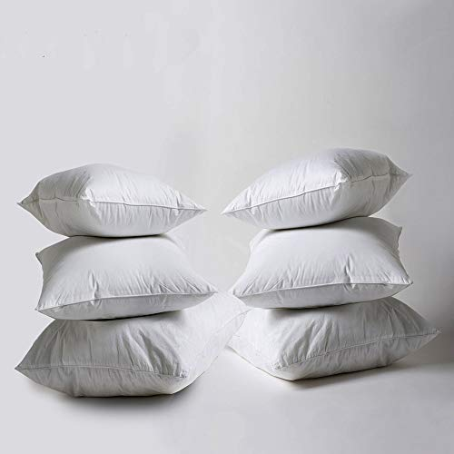 Iyan Linens Ltd New White Hollowfibre Cushion Pad Inner Insert 18x18,Pack6-100% Natural Anti Dust Mite And Down Proof Cover - Non Allergenic Polyester Filling