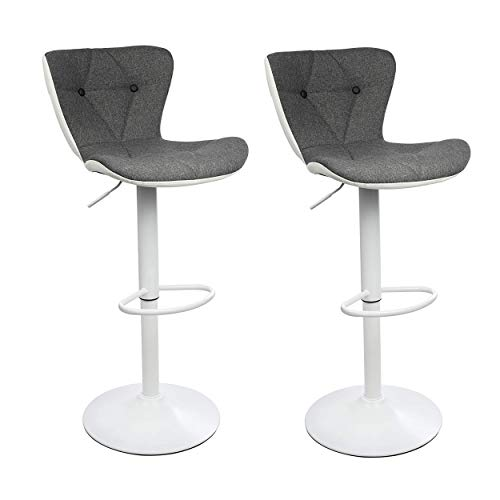 Adjustable Height Bar Stool Seat | Modern Airlift Swivel Barstool | Mid-Back Padded Chair for High Ergonomic Seating | Heavy Duty | Contemporary Metal Base Perfect for Countertop Dining 2 Pack