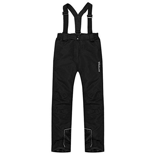 PHIBEE Boys' Waterproof Breathable Polyester Snowboard Ski Pants Black 16