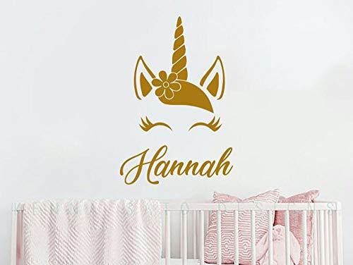 Enhörning väggdekal personligt namn viny konst klistermärken för barnrum söta djur barnkammare dekaler heminredning flickor gåva malm