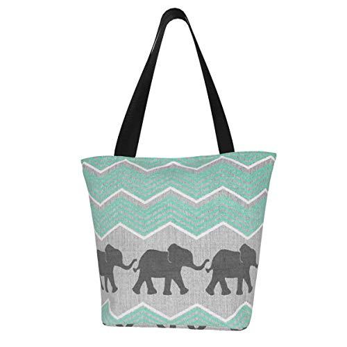 Personalisierte Leinen-Tragetasche, drei Elefanten, waschbare Handtasche, Schultertasche, Einkaufstasche für Frauen