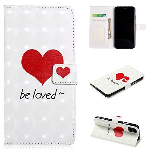 QFUN Leder Hülle für iPhone 12 Pro mit Kartenfach,Glitzer Muster [Rot Liebe] Magnetverschluss Klappbar Ständer Schutzhülle Stoßfest Fallschutz Schutztasche Bumper Flip Case und Schutzfolie