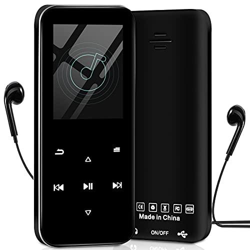 Bluetooth MP3 Player mit Kopfhörer, Aigital HiFi Verlustfreier Ton MP3 Musik Player mit Lautsprecher Touch-Tasten, UKW-Radio, Aufnahme, Schrittzähler Unterstützt bis 128GB SD Karte