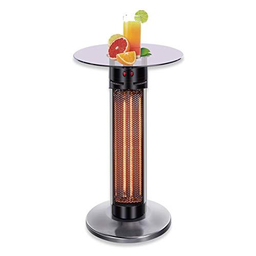 BaiTTang Calentador de Patio infrarrojo al Aire Libre con Mesa de Vidrio Templado, Elemento de calefacción de Fibra de Carbono, 700W / 1400W, 360 ° radiación y antidumping e IP44 Impermeable