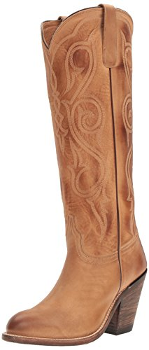 """Lucchese Womens Vanessa Embroidery Round Toe Western Cowboy Boots Over The Knee Low Heel 1-2"""" - Beige - Size 10 B"""