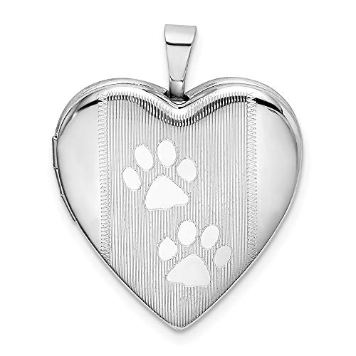 925 Sterling Silver Textured Paw Prints Heart Photo Pendant Charm Locket Chain Necklace That Holds Pictures Animal Fine Jewelry For Women Gifts For Her