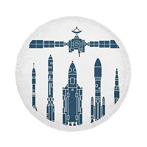 Manta de Toalla de Playa Redonda, Cohete de Programa aeroespacial, Cohete de Estilo de Dibujos Animados, Aventura de Astronauta, Esterilla de Yoga Circular Grande de 59 Inch con borlas de Flecos