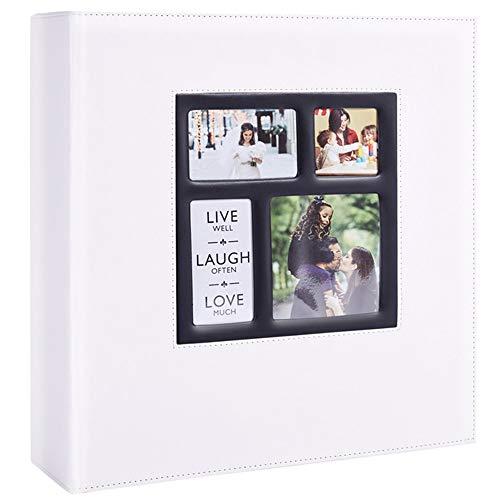 Ywlake Álbum de fotos de 10 x 15 cm, 500 fotos, vintage, piel, grande, para bodas, familia, para insertar páginas negras, para 500 fotos de bolsillo, color blanco
