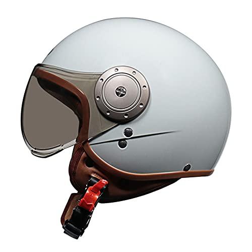 YAYT Medio Casco anticolisión de Motocicleta Retro, Casco 3/4 Aprobado por Dot/ECE, tamaño Libre para Mujer, 54~61 cm, Casco anticolisión para ciclomotor Scooter