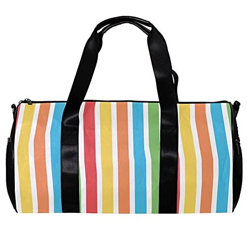 Seesack für Damen und Herren, bunte Streifen, rot, gelb, blau, grün, Sporttasche, Reisetasche, Outdoor-Gepäck, Handtasche