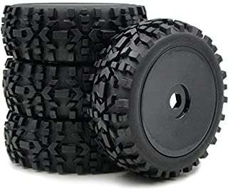 hobbysoul 4pcs 1:8 RC Off Road Buggy Tires & Hex 17mm Wheels for Losi HPI XTR Badlands Car Upgrade