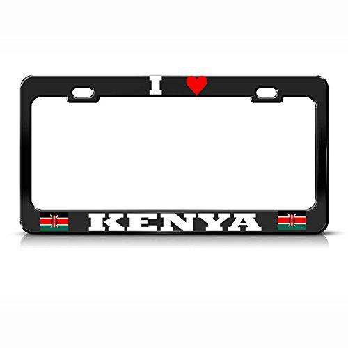 Moon Placa de matrícula de Metal Negro con la Bandera de Kenia, con Texto en inglés I Love Heart, Ideal para Hombres y Mujeres