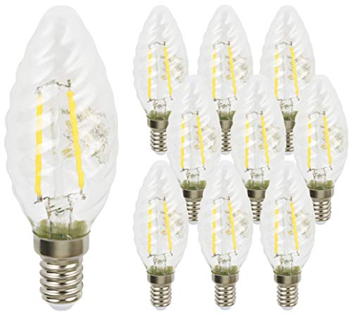 10er PACK - LED Filament Leuchtmittel Kerze TWIST 2W E14 360° - warmweiß (2700 K)