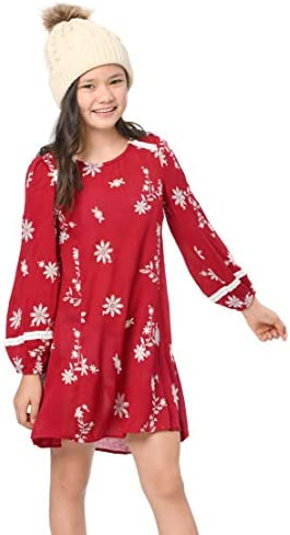 Hannah Banana Big Girls Designer A lIne Long Sleeve Dress with Lace Crochet Trim and Embroidery product image