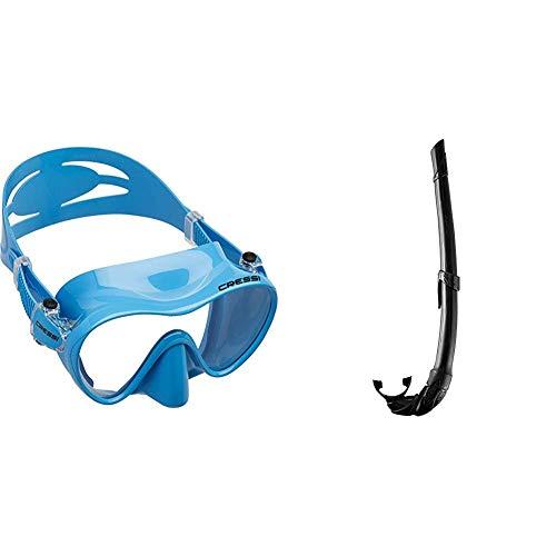 Cressi F1 Mask Máscara Monocristal Tecnología Frameless, Unisex, Azul, L + Corsica EG268550, Tubo Respiradores para Apnea, Snorkeling,Pesca Bubmarina, Buceo. Color Negro/Negro