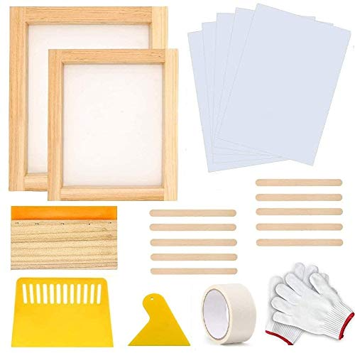 22 Pieces Screen Printing Starter Kit, MQ 10 x 14 Inch Wood Silk Screen Printing Frame White Mesh Screen Printing Squeegees Inkjet Transparency Film and Mask Tape Christmas Gift