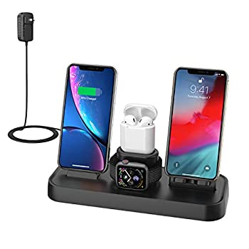 Wireless Charger 4 in 1 Charging Station for Apple Wireless Charging Pad Stand with Apple Watch Charger Stand Apple Watch Charging Stand with AirPods Dock Wireless Charger for iPhone iWatch Airpods
