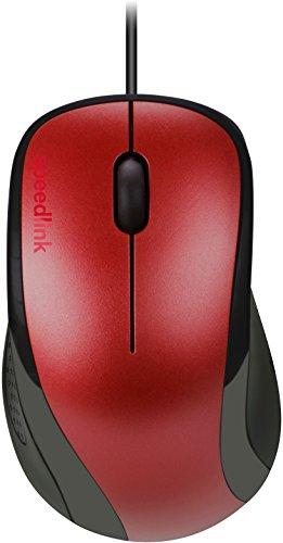Speedlink KAPPA Mouse - 3 Tasten Maus mit USB Anschluss für Büro/Home Office (1000 dpi - Treiberlose Installation - Ergonomische Form) für Gaming/PC/Notebook/Laptop, rot