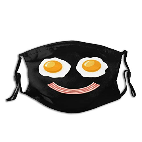 Kids Adult Anti-Dust Face Mouth Mask Funny Breakfast Bacon and Eggs Adjustable Sport Outdoor Mouth Cover Balaclava Black