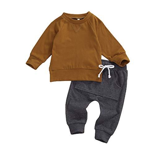 Geagodelia Baby Kleidung Jungen Sweatshirts Langarm Oberteile Hose Baby Neugeborenen Set Outfit Babykleidung Set (Braun, 6-12 Monate)