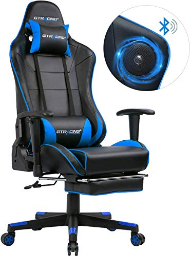 GTRACING Gaming Chair with Bluetooth Speakers and Footrest Music Video Game...