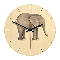 7Buy Wood Wall Clock, 11-inch Non-Ticking Silent Elephant Wooden Wall Clock for The Children's Room (Elephant-A)
