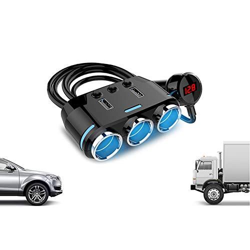 NAttnJf – Encendedor de cigarrillos de 12 V – 24 V, doble USB, cargador de teléfono, adaptador de reconocimiento para iPhone XS Max XR X 8/7/6/6 S Plus Samsung Galaxy S5/S6/S7/S8/S9 Nota 9 8 Huawei LG
