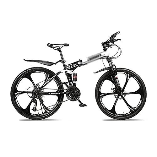 Bicicleta de montaña para montar al aire libre de 26 pulgadas para hombres y mujeres Marco de acero de alto carbono de 21/24/27 velocidades con sistema de suspensión doble (tamaño: 24 velocidades, col