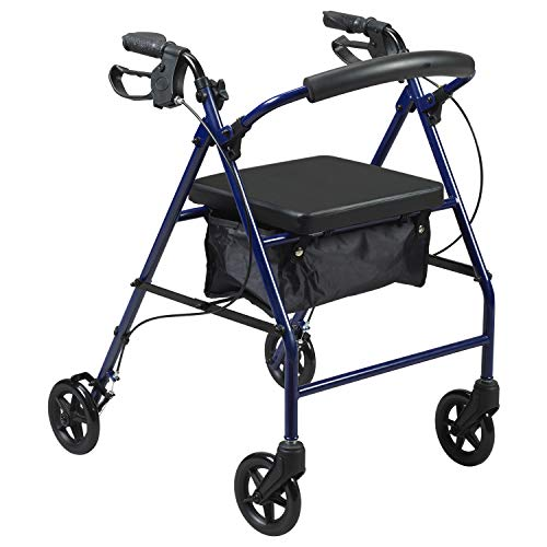 PCP Medical Rollator, Steel Frame, Fold Up, Removable Back Support, Padded Seat, 8-inch Wheels, Blue, Adult (5311-BL)